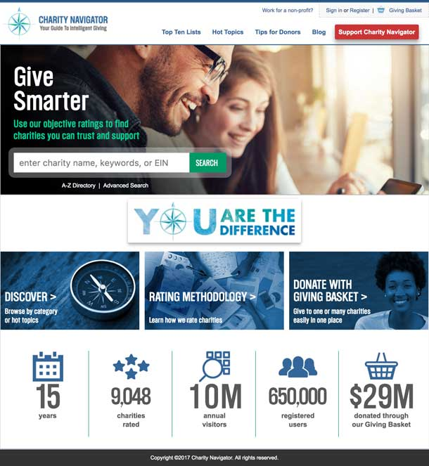 Screenshot of CharityNavigator.org