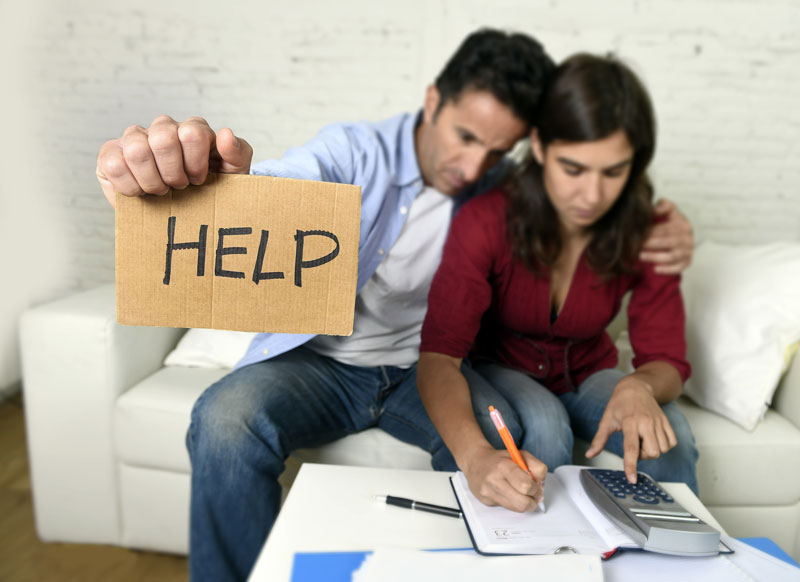 Scared couple asking for financial help